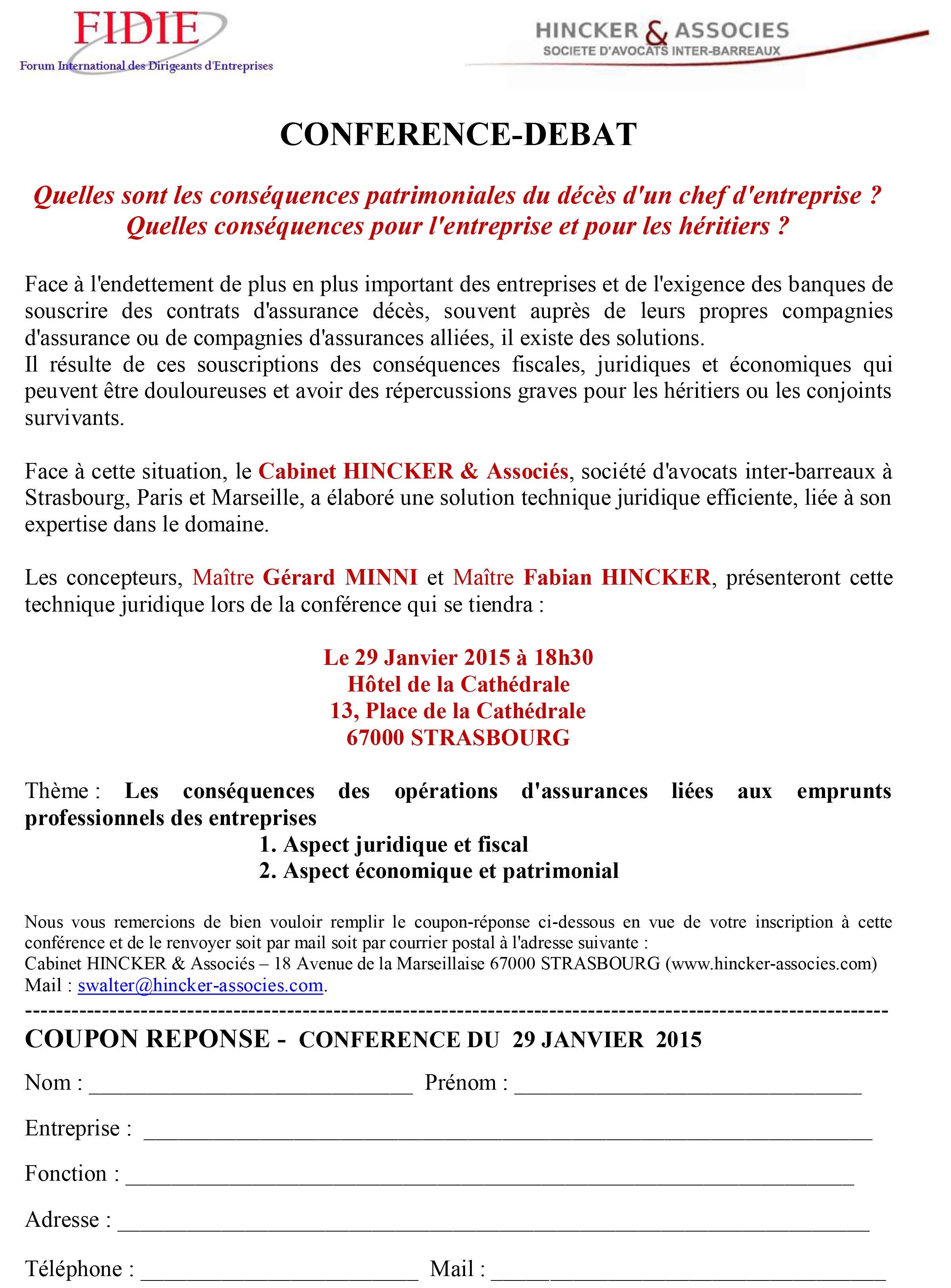29 Janvier 2015 – Conférence-débat : Quelles sont les conséquences patrimoniales du décès d'un chef d'entreprise ? Quelles conséquences pour l'entreprise et pour les héritiers ?